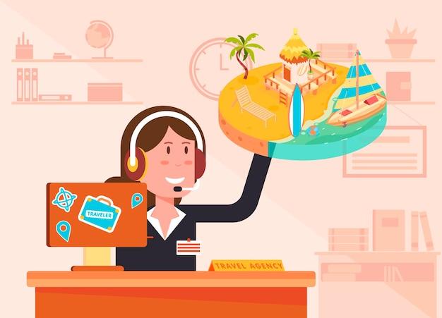 Ilustração de uma agência de viagens com uma agente usando um fone de ouvido