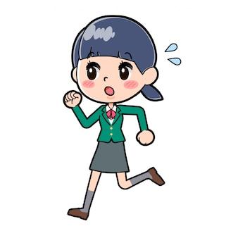 Ilustração de uma aluna da escola com uniforme verde