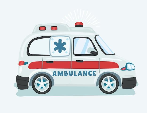 Ilustração de uma ambulância isolada no fundo branco