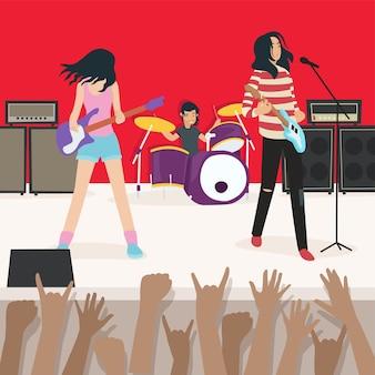 Ilustração de uma apresentação de uma banda de rock com milhares de espectadores