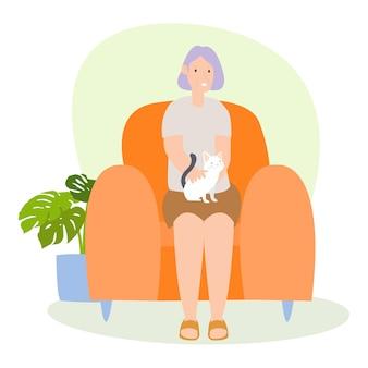 Ilustração de uma avó brincando com um gato na casa