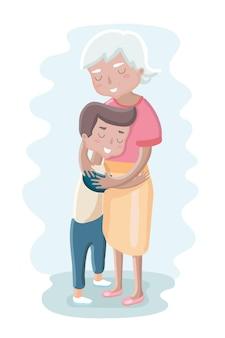 Ilustração de uma avó e netos, menino e menina, isolado no branco