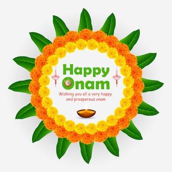 Ilustração de uma bela flor arredondada rangoli onam feliz.