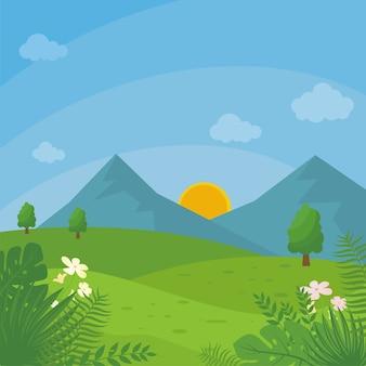 Ilustração de uma bela paisagem rural com estilo cartoon plana