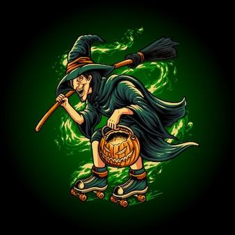 Ilustração de uma bruxa andando de patins