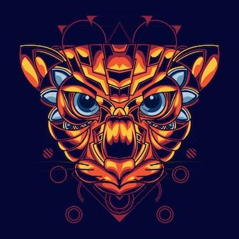 Ilustração de uma cabeça de gato com combinação de cor ouro e vermelho