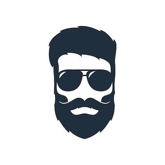 Ilustração de uma cabeça de hipster com barba, bigode e óculos escuros.