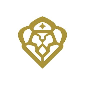 Ilustração de uma cabeça de leão usando uma coroa com estilo elegante
