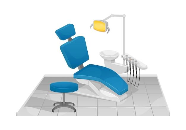 Ilustração de uma cadeira odontológica com lâmpada