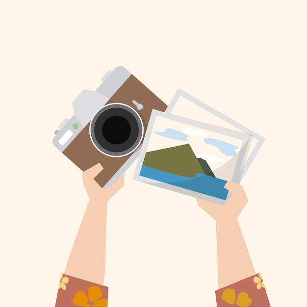 Ilustração de uma câmera e fotografias