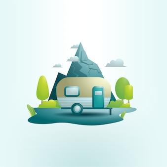 Ilustração de uma caravana na floresta