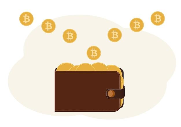 Ilustração de uma carteira cheia de moedas com a imagem de uma criptomoeda