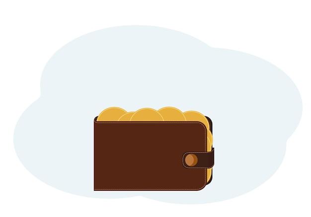 Ilustração de uma carteira com moedas de ouro