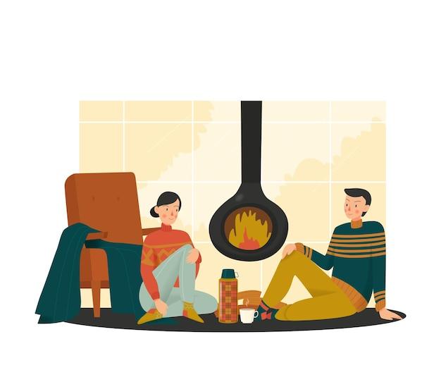 Ilustração de uma casa aconchegante com vista de um casal apaixonado sentado à lareira