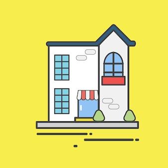 Ilustração de uma casa fofa