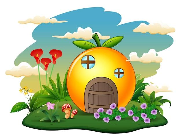 Ilustração de uma casa laranja na ilha