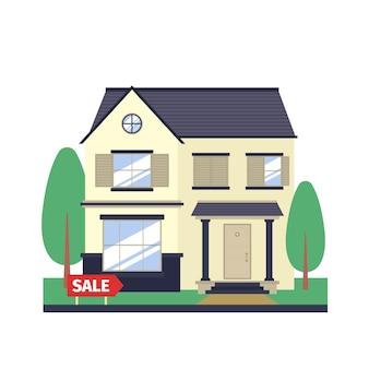 Ilustração de uma casa moderna à venda