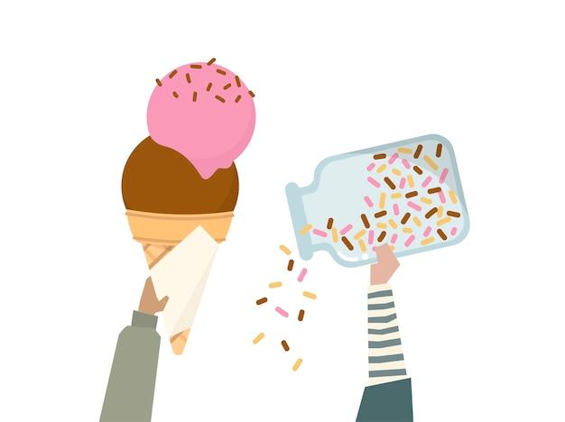 Ilustração de uma casquinha de sorvete com arco-íris polvilha
