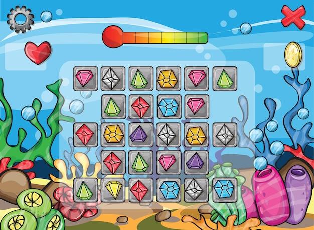 Ilustração de uma cena de um jogo de computador - vida marinha