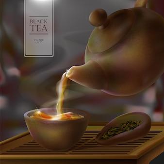 Ilustração de uma cerimônia do chá. da chaleira cheia de copo quente de bebida saborosa. bule, tigela e folhas de chá preto