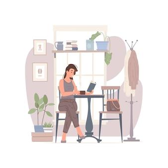 Ilustração de uma cliente com um livro de leitura de bebida quente