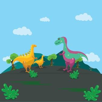 Ilustração de uma coleção de dinossauros reunidos, com um fundo de montanhas