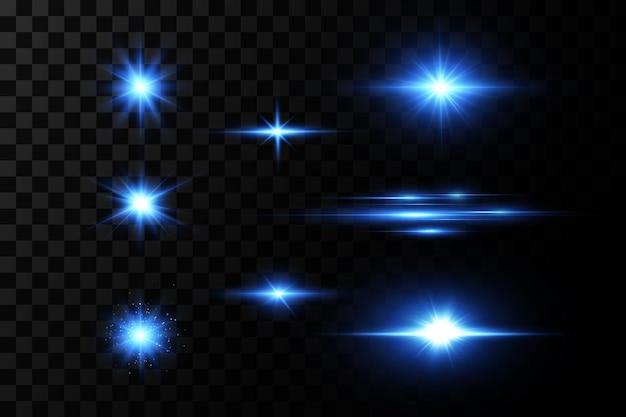 Ilustração de uma cor azul. conjunto de efeitos de luz.