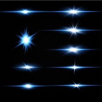 Ilustração de uma cor azul. efeito de luz de brilho.