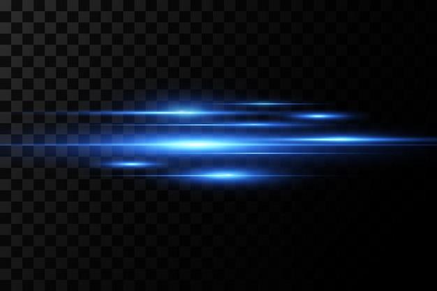 Ilustração de uma cor azul. efeito de luz. feixes de laser abstratos de luz. raios de luz neon caóticos.