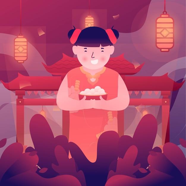 Ilustração de uma criança comemorando a festa do cap go meh após o ano novo chinês