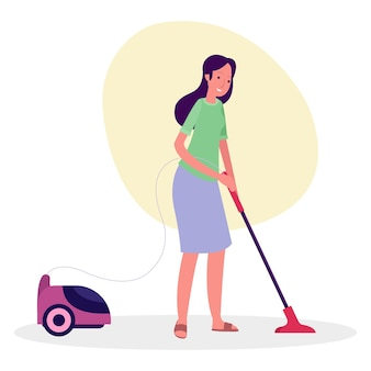 Ilustração de uma empregada limpando o quintal de uma casa