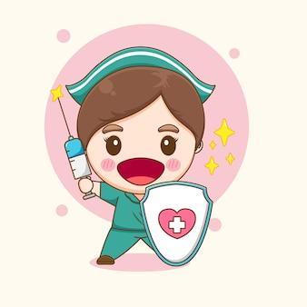Ilustração de uma enfermeira fofa com escudo e espada