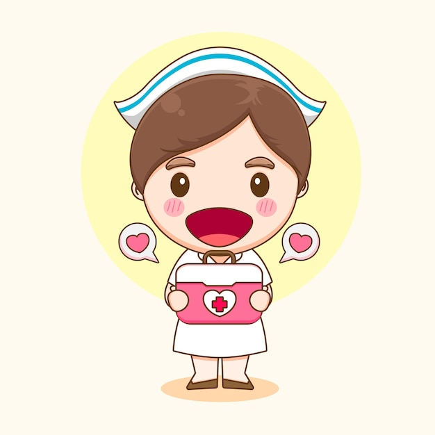 Ilustração de uma enfermeira fofa com personagem de caixa de ferramentas médica