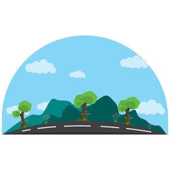 Ilustração de uma estrada tranquila ao lado das montanhas