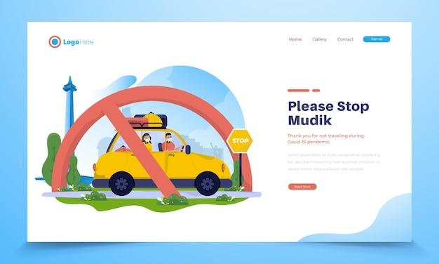 Ilustração de uma família em um carro com um aviso para parar de viajar ou mudik para sua cidade natal