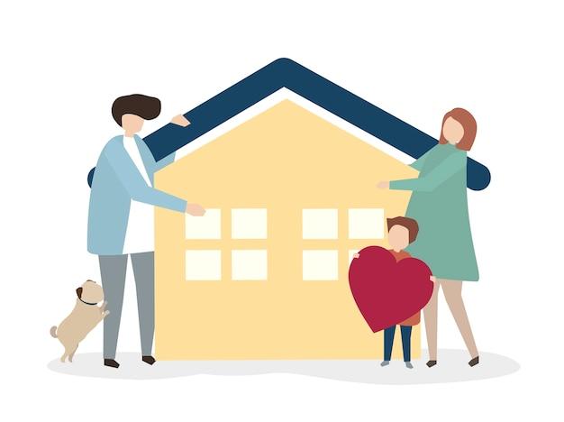 Ilustração de uma família feliz e saudável