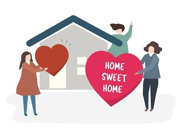 Ilustração de uma família feliz em casa