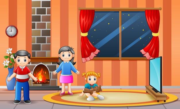 Ilustração de uma família na sala de estar