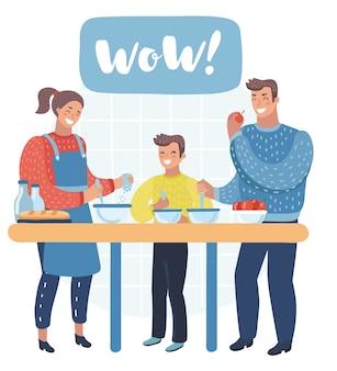 Ilustração de uma família preparando ingredientes para cozinhar