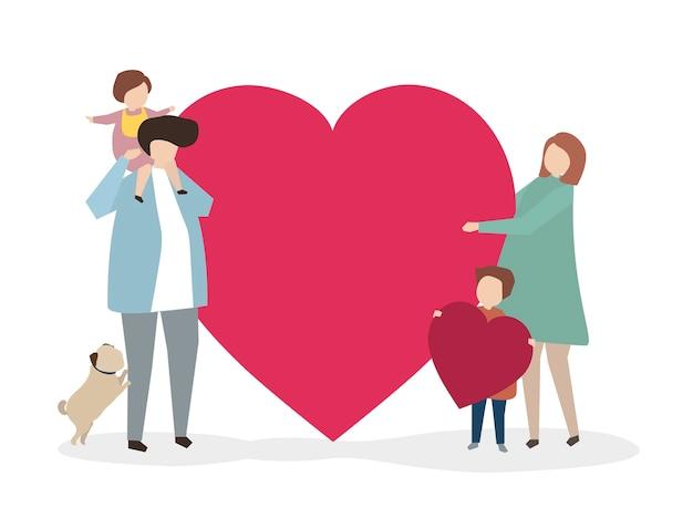 Ilustração de uma família saudável juntos