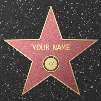 Ilustração de uma famosa estrela de talento representando uma gravação de áudio ou música