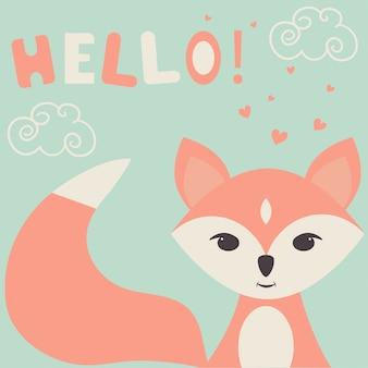 Ilustração de uma fofa raposa, corações e nuvens