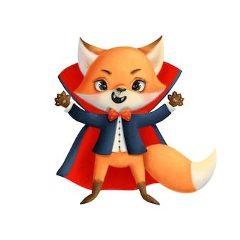 Ilustração de uma fofa raposa de halloween em uma fantasia de vampiro. animais de halloween