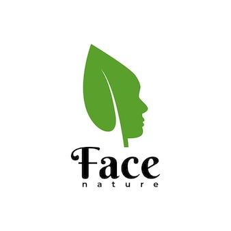 Ilustração de uma folha formando uma cabeça humana, boa para qualquer negócio relacionado ao estilo de vida saudável