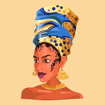 Ilustração de uma garota africana usando brincos e lenços de cabeça bonitos.