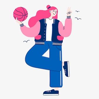 Ilustração de uma garota de esportes com uma bola de basquete isolada em um fundo branco. arte de estilo de vida saudável