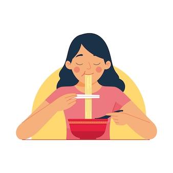 Ilustração de uma garota desfrutar de ramen