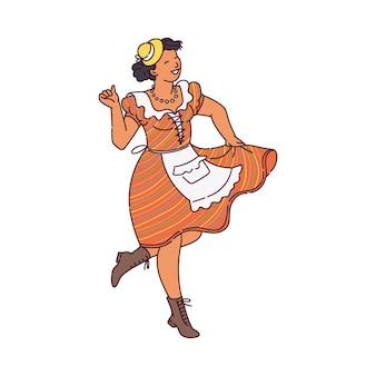 Ilustração de uma garota que dança na tradicional festa junina brasileira