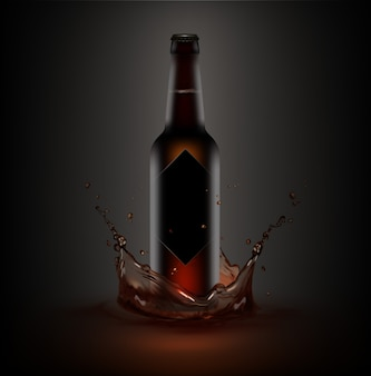 Ilustração de uma garrafa de cerveja marrom com rótulo preto em salpicos de líquido