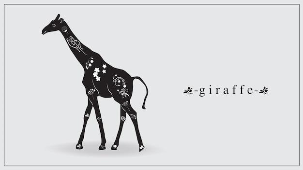 Ilustração de uma girafa negra com flores brancas e plantas.